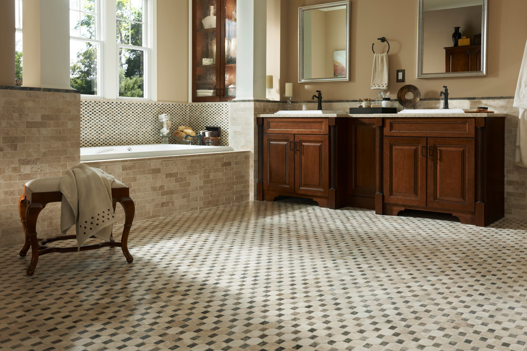 classic pattern of beige-tones small stone tiles